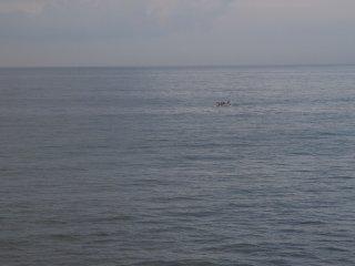 2017/9/11 白いザラザラとした海を進むカヌー、つや消しの影を避けるように旋回し